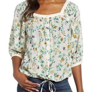 Lucky Brand Cotton Floral Print Drawstring Blouse